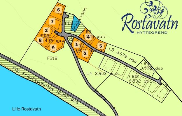 Kart tomtene til salgs Rostavatn